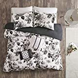 Intelligent Design Dorsey Duvet Cover Reversible Flower Floral Metallic Printed 100% Brushed Ultra-Soft Corner Ties Buttoned Embroidered Pillow All Season Bedding-Set, Twin/Twin XL, Black/White