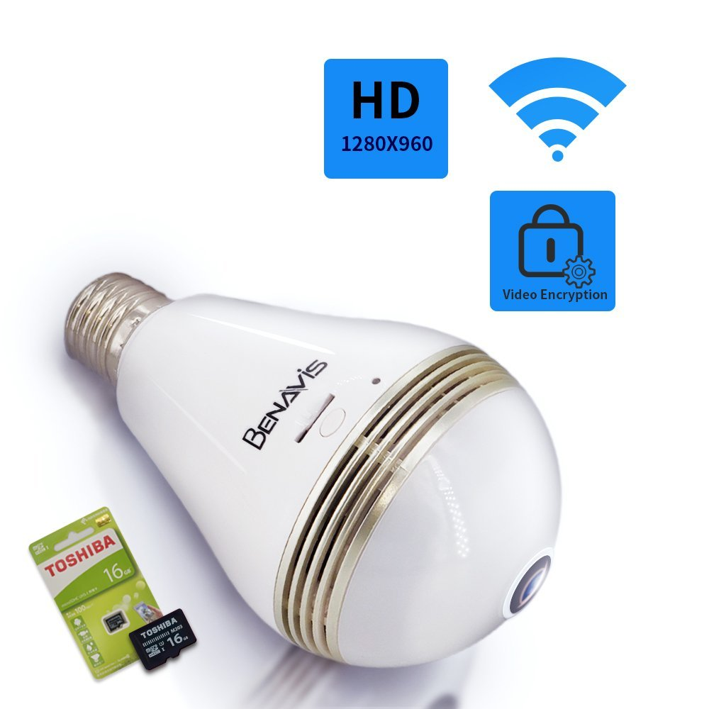 Bulb Security Camera, HD Hidden Lamp Cam with 16G Sd Card, Wireless WiFi 360 Panoramic VR Fisheye Spy IP CCTV Video Surveillance System, Front Door,Porch E27 E26 LED Light Fixture Indoor Usage