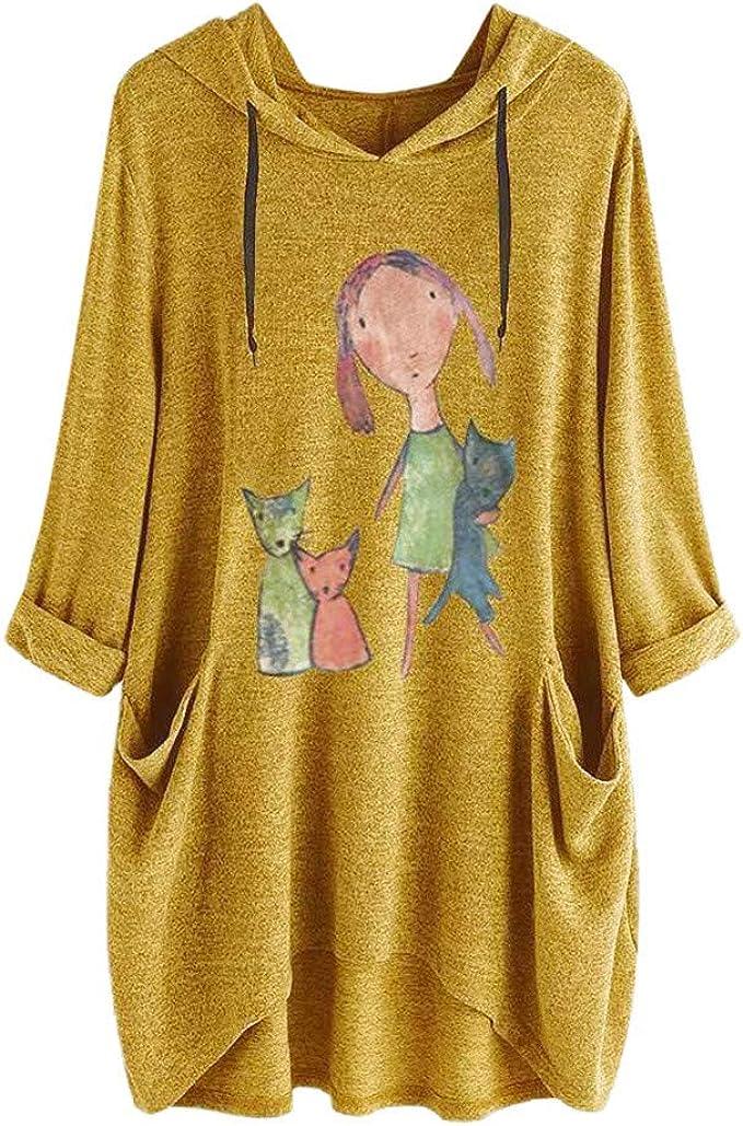 BOLANQ Damen Top Shirt Bluse Damen beil/äufige mit Kapuze Lange H/ülsen Katzen Ohr Druck Taschen Hemd unregelm/ä/ßige Spitzenbluse