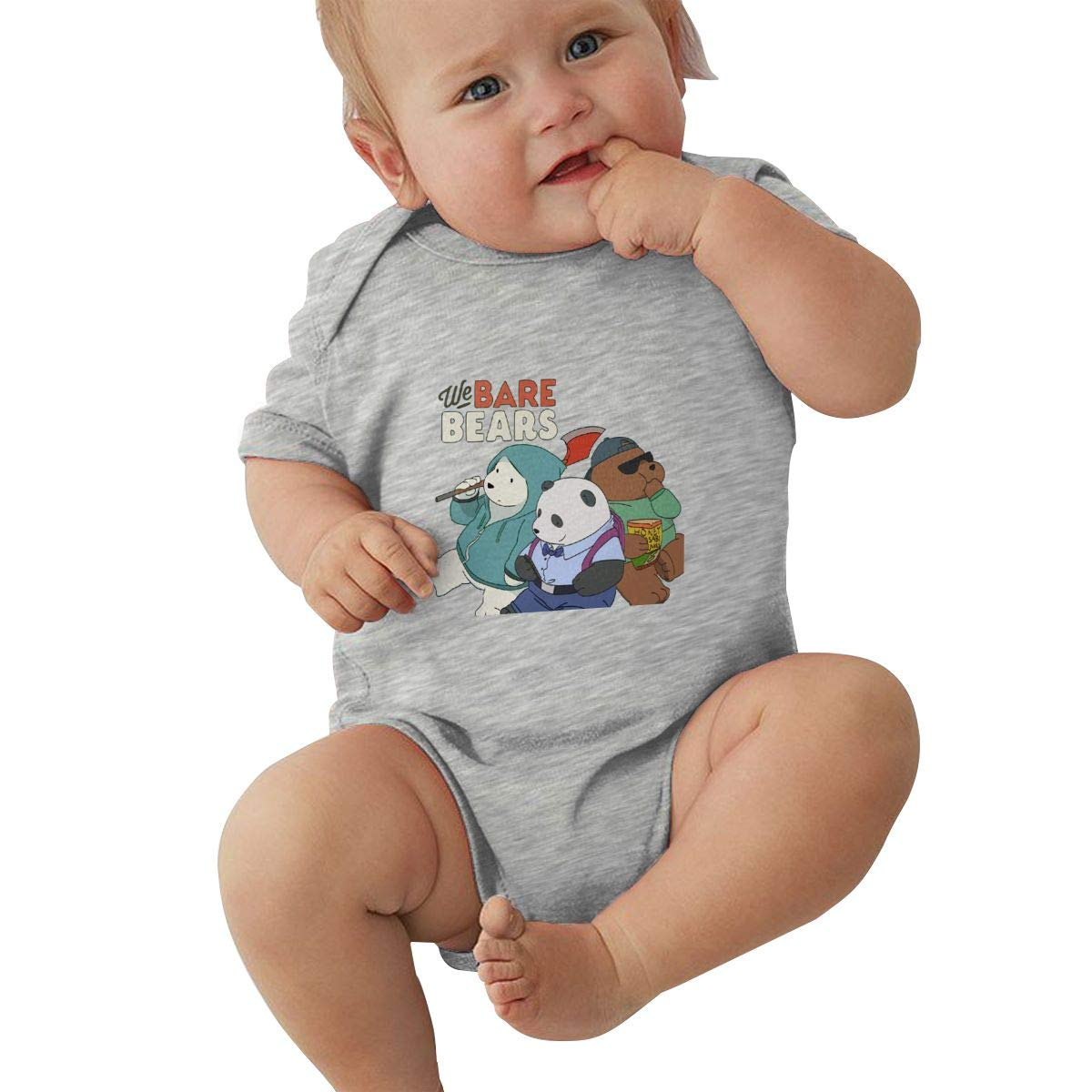 LuYiDa Unisex Baby Crew Neck Short Sleeve Romper We Bare Bears Funny Crawling Clothes Black