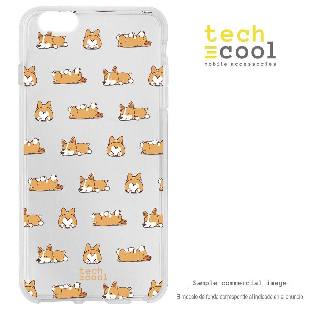 Funnytech® Funda Silicona para Xiaomi Mi A2 [Gel Silicona Flexible, Diseño Exclusivo] Patron Perros Fondo Transparente Version 1