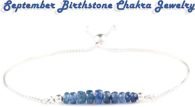 OOAK by Virat Pulsera de cuentas de zafiro azul natural hecho a mano con piedras de nacimiento de septiembre, cadena de plata de ley 925, 8 pulgadas