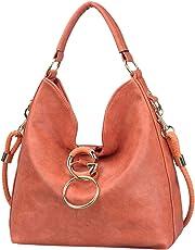Uncle.Y Bags for Women Shoulder Purses Hobo Handbags PU Leather Satchel Zipper Closure Large Size