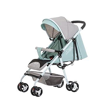 Trolley LXZXZ - Carrito de bebé de 4 Ruedas Ultraligero Sentado Cochecito de bebé reclinable Sentado Cochecito de bebé recién Nacido reclinable (Color ...