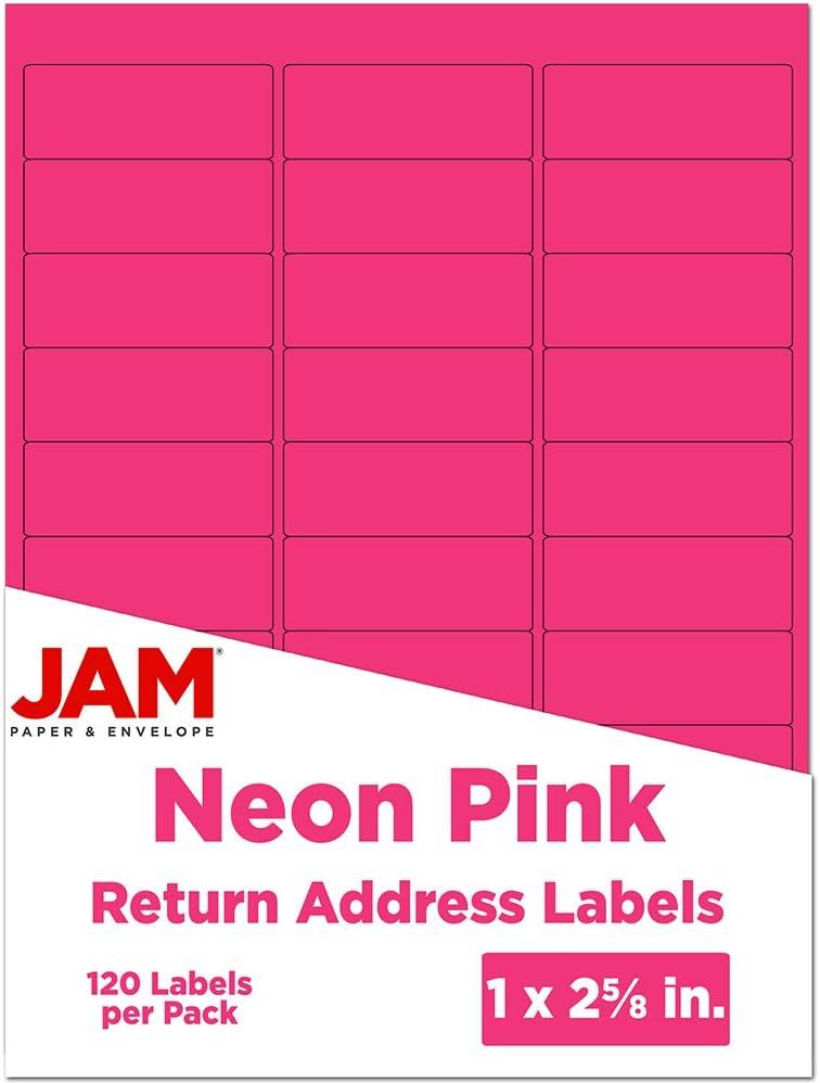 JAM PAPER Return Address Labels - Standard Mailing - 1 x 2 5/8 - Neon Pink - 120 Shipping Labels/Pack