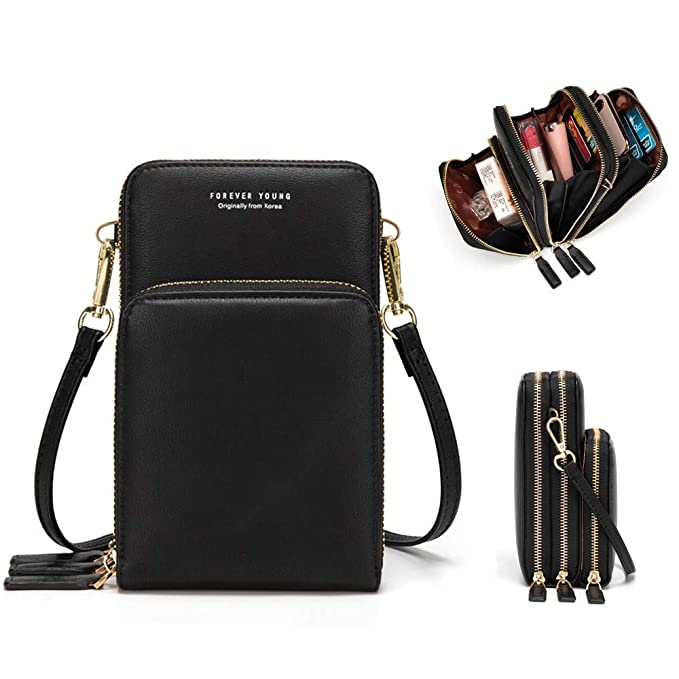 f2a00e593dec Kingto Cellphone Purse Small Cross body Bag Waterproof Smartphone Wallet  Phone Holder for Women (Black)