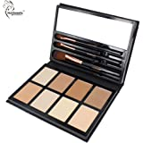 Hot Sweety Original Cruelty Free Powder Makeup Palette Face Powder Contour Kit for Any Kind Skin with 8 Colors 3 Brushes (YH16002)