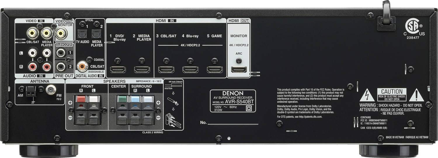 Denon AV Receiver Audio & Video Component Receiver BLACK (AVRS540BT) (Renewed) by Denon (Image #2)