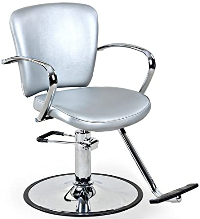 U0026quot;Andrewsu0026quot; Silver Salon Styling Chair, Round Base ...