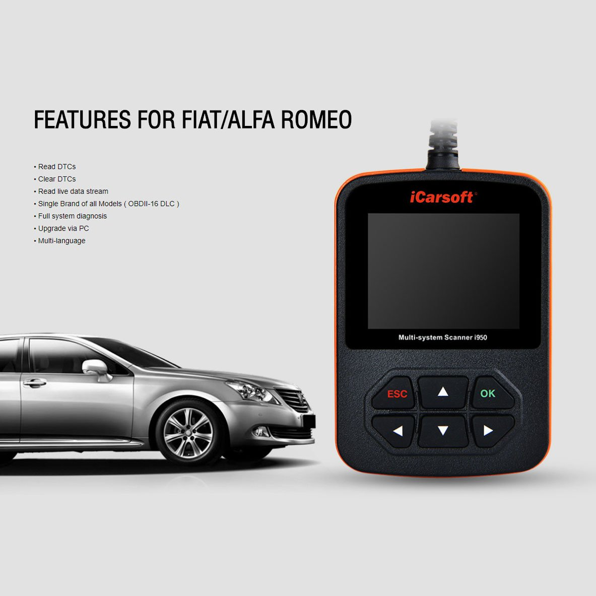 Amazon.com: FIAT and ALFA ROMEO OBD2 DIAGNOSTIC SCANNER TOOL ERASE FAULT CODES - iCARSOFT i950: Automotive