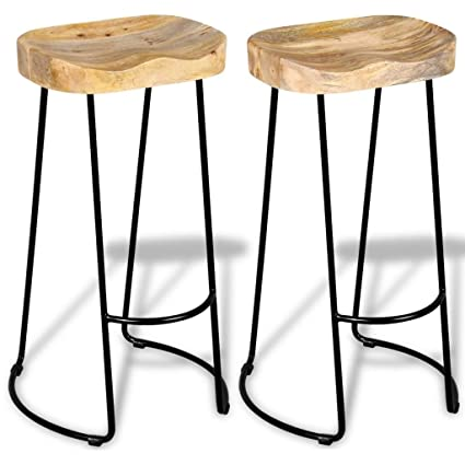 VidaXL Contemporary Bar Stools Kitchen Dining Room Chair Solid Mango Wood  Metal