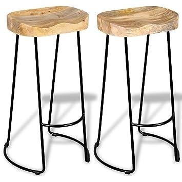 Brilliant Vidaxl Solid Mango Wood 2 Piece Gavin Bar Stools Kitchen Dining Room Chair Machost Co Dining Chair Design Ideas Machostcouk