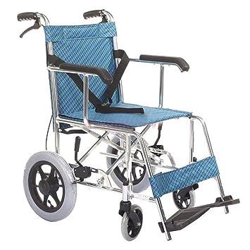 GUO Aluminio ligero empuje portátil plegable pequeña rueda delantera silla de ruedas ancianos