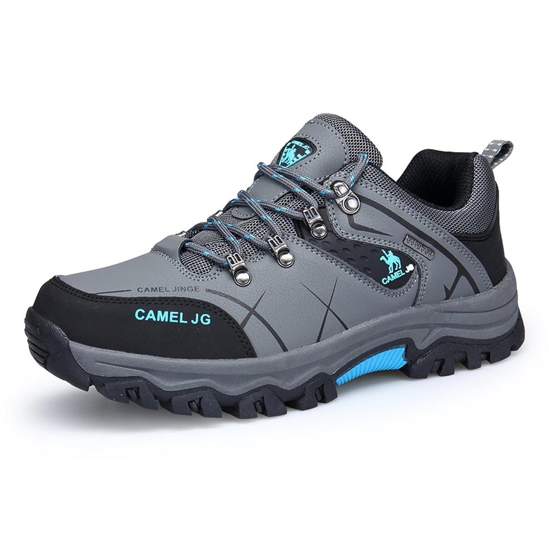 GOMNEAR Trekking und Wanderschuhe Herren Wasserdichtes Leder Walking Outdoor Low Rise Schuhe (EUR41=UK7, Grau)