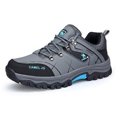 GOMNEAR Trekking und Wanderschuhe Herren Wasserdichtes Leder Walking Outdoor Low Rise Schuhe (EUR43=UK8, Grün)