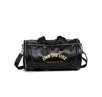 8055e94d2a5bc Quanjie Bolsa Gimnasio de Viaje Impermeable Bolsas Deporte PU Cuero Bolsos  Deportivos Fin de Semana Travel Duffle Bag para Hombres y Mujeres  (Negro-1)  ...