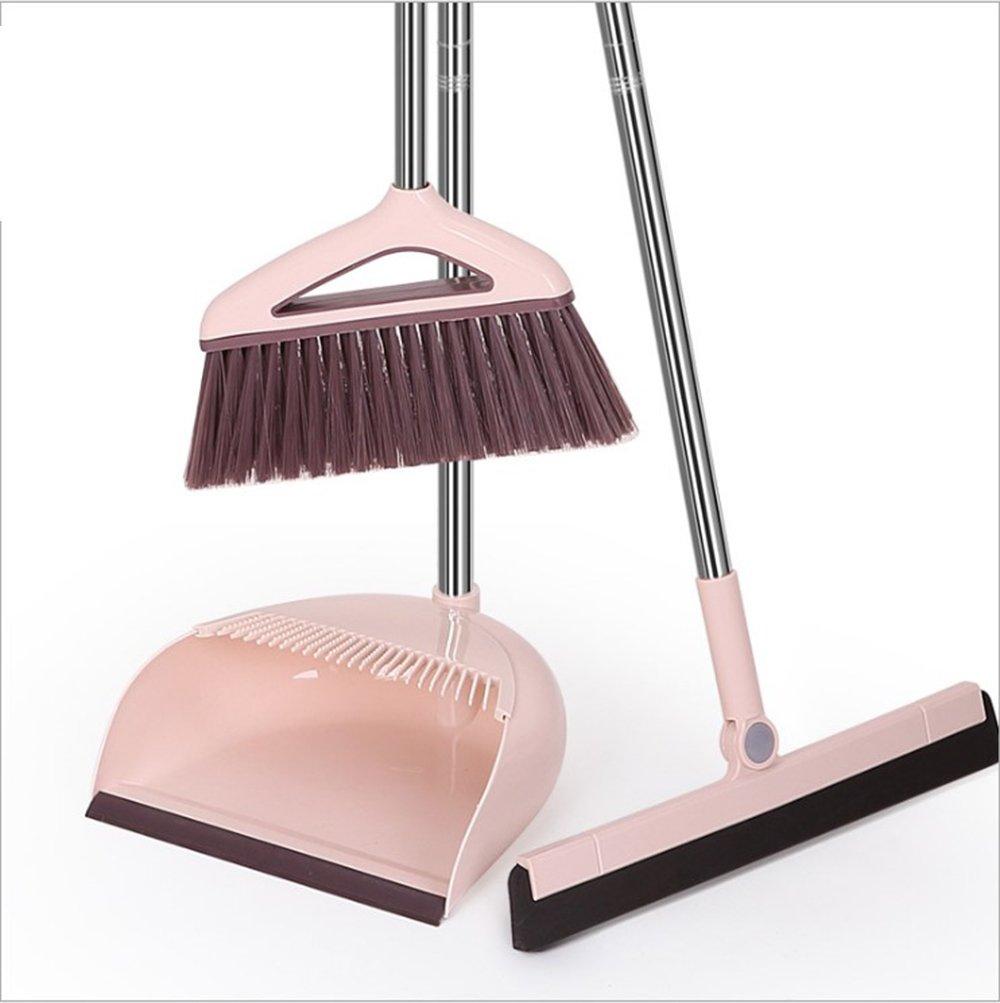 Broom Set Windproof Comb Type Broom Combination Soft Hair Broom Soft Hair Broom Wiper (Pink) HANYI