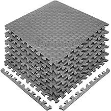 Sivan Health and Fitness Puzzle Exercise Mat Eva Foam Interlocking Tiles-Grey