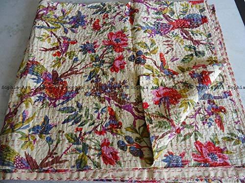Sophia Art Indian Bohemain Bedding Kantha Vintage Ethnic Cotton Bird Kantha Quilt Coverlet Bedspread Patchwork Stitch Blanket Queen Size Kantha Quilt (White)