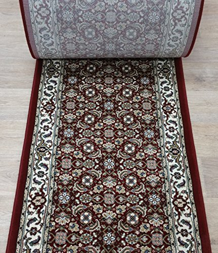 """152720 - Rug Depot Dynamic Ancient Garden 57011-1414 Red Traditional Hall and Stair Runner - 26"""" Wide Hallway Rug Runner - Custom Sizing - Red Background - Choose Your Length - 26"""" x 22 feet from Rug Depot"""