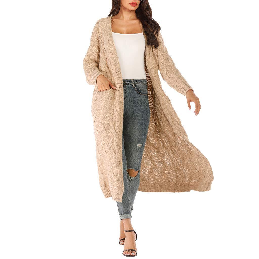 AHAYAKU Women Long Sleeve Knitting Open Cape Casual Coat Blouse Kimono Jacket Cardigan 2019 Style Khaki