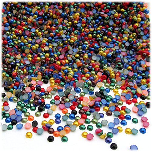 The Crafts Outlet 1000-Piece Pearl Finish Half Dome Round Beads, 3mm, Jewel Tone Mix