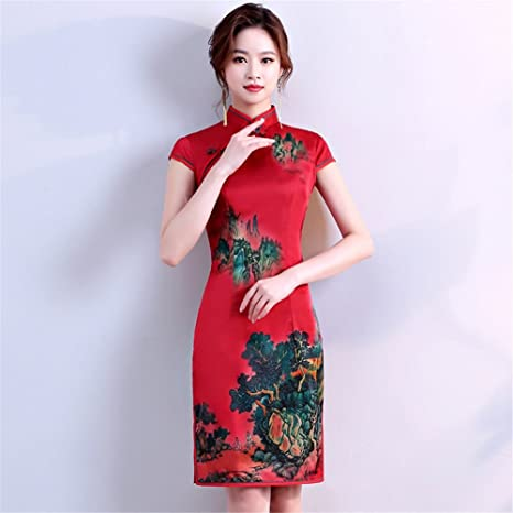 52744b89ca YAN Vestido de Mujer Vestido de Mujer Chino Corto Mini Vestido de Fiesta de Noche  Cheongsam ...