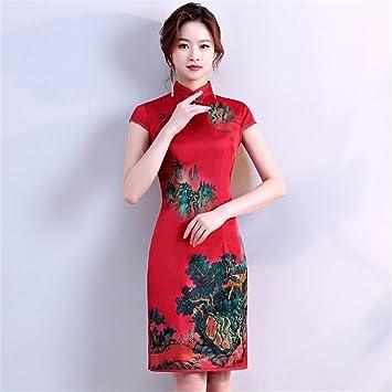 YAN Vestido de Mujer Vestido de Mujer Chino Corto Mini Vestido de Fiesta de Noche Cheongsam