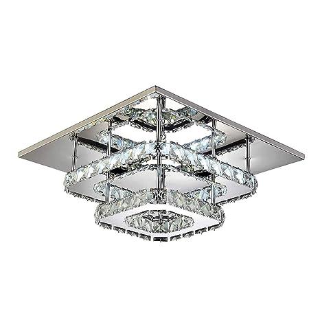 Lámpara de techo de cristal Luz de Techo Espejo de acero ...