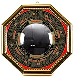 T2C Bagua Luo board convex mirror back Gold Chinese feng shui entrance mirror Goods for powerful Luck & Success