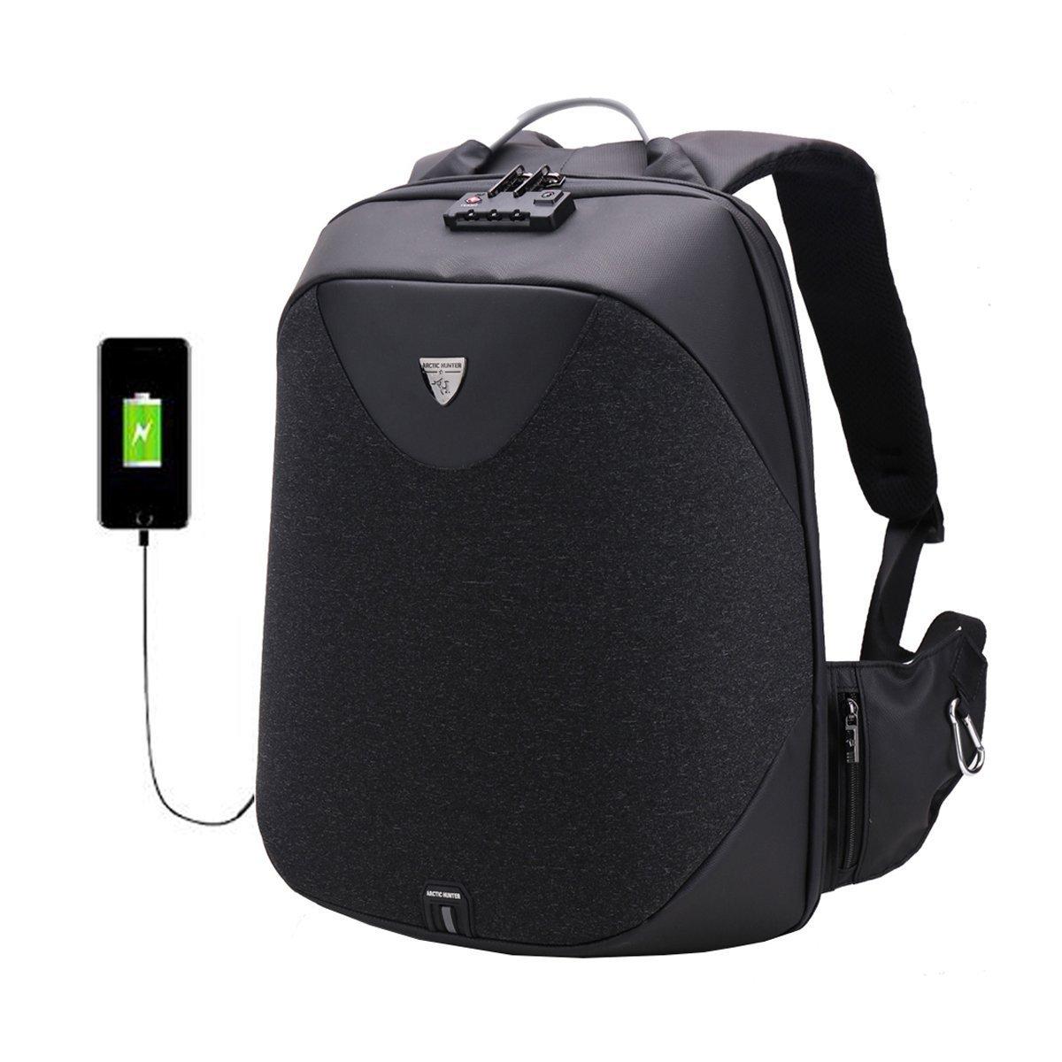 School 15.6 Laptop backpack men Waterproof Mochila Casual Travel Business USB Back pack Male Bag Anti-theft Gift (black)