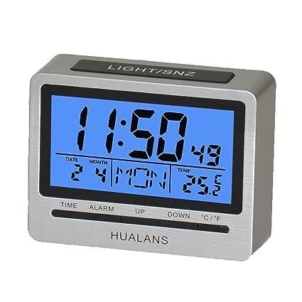 Despertador Digital,Digital Alarma Despertador Retroiluminado con Semana,Temperatura,Hora,Calendario y Modos de 12/24 Horas (excluyendo baterías)