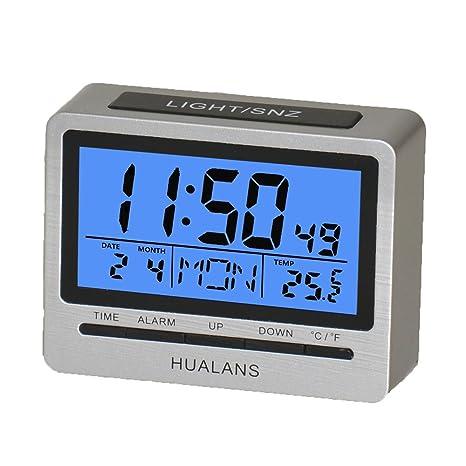 Despertador Digital,Digital Alarma Despertador Retroiluminado con Semana,Temperatura,Hora,Calendario y