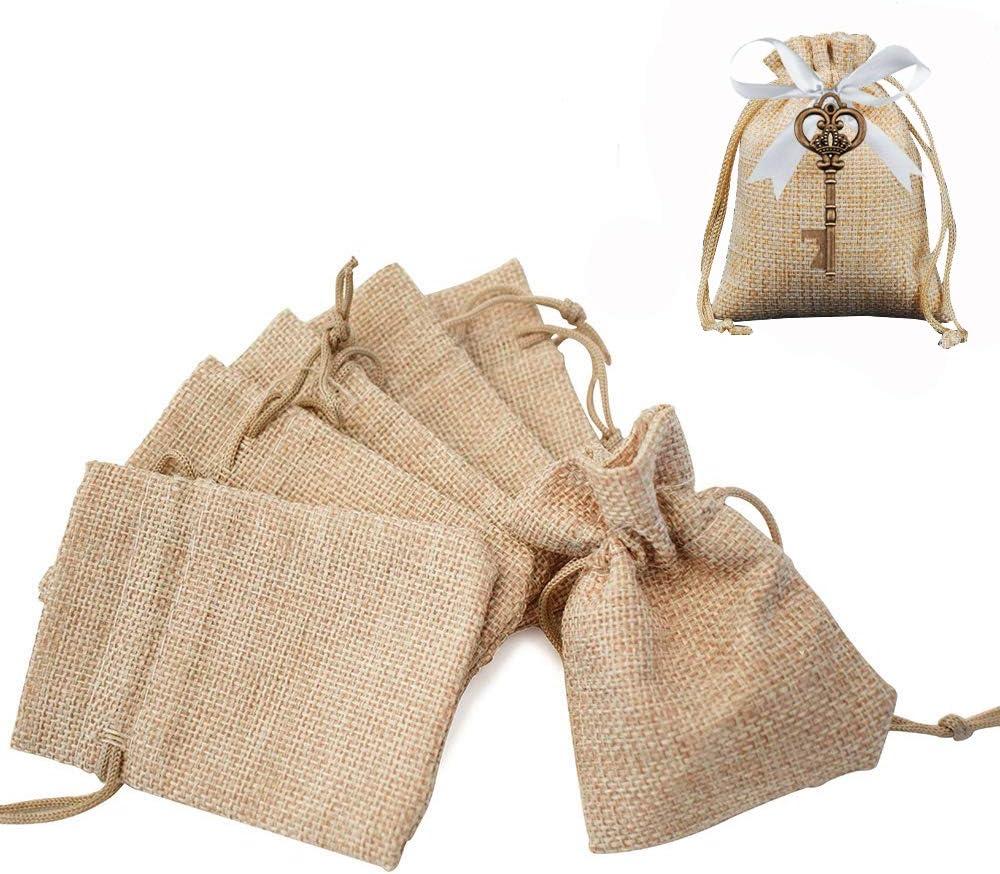Gudotra Acerca de 100pcs Bolsa de Lino con Cordón para Joyería Regalos Arroz Boda Navidad Bolsitas de Tela Saco 10 * 14cm (100pcs-10 * 14cm)