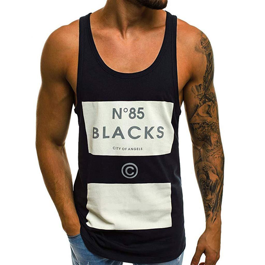 Eoeth Men's New Summer Printed Vest Fashionable Comfortable Large Vest Blouse Top Pullover Black