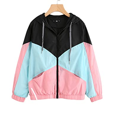3d6c4f81ead2 Amazon.com: Wigeo Woman Winter Coats and Jackets Multicolor Cut and Sew  Hooded Windbreaker Jacket Color Block Coats for Women: Clothing