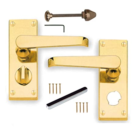 polished brass victorian straight lever privacy door handles 100mm x