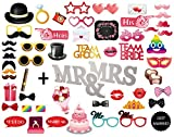 MOT Global 52 PCS Wedding Photo Booth Props with Wooden Mr & Mrs Table Signfor Wedding Party Decoration Supplies