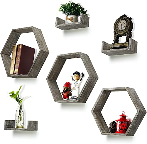 RR ROUND RICH DESIGN Wall Shelf Set of 6 – Rustic Wood 3 Hexagon Boxes and 3 Small Shelves for Free Grouping Driftwood Finish