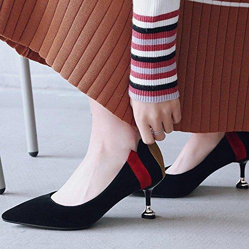 Primavera XZGC Negro Zapatos Cómodos Señaló de Mate Tacones fqxzqwFEH