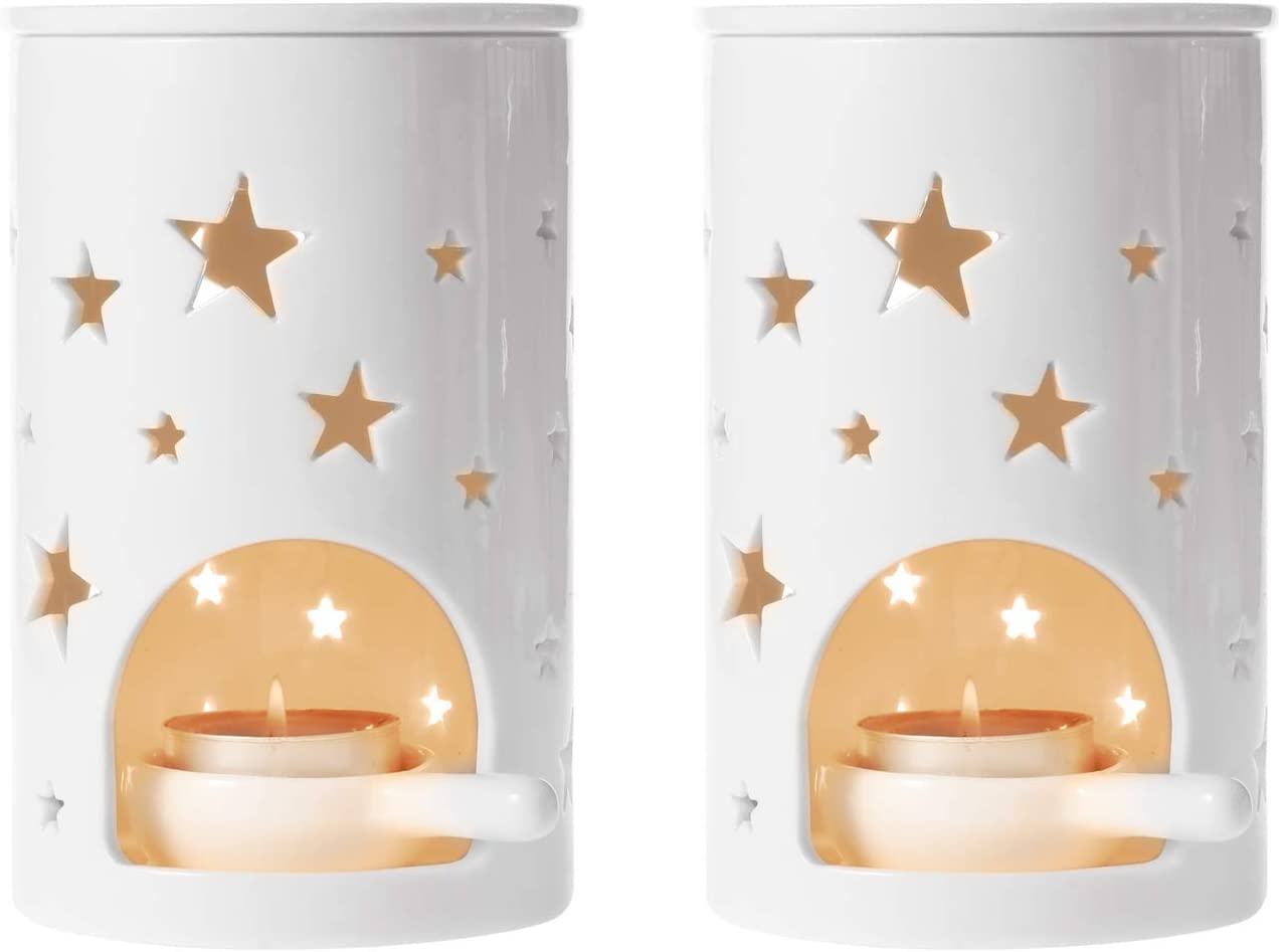 T4U Ceramic Tealight Candle Holder Oil Burner, Essential Oil Incense Aroma Diffuser Furnace Home Decoration Romantic Gift White Set of 2, Star Pattern