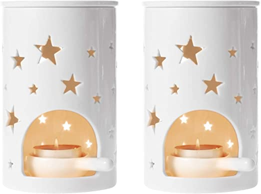 Star Pattern ComSaf Ceramic Oil Burners Wax Melt Holders Set Lovely Aromatherapy Essential Oil Burner Aroma Lamp Diffuser Candle Tealight Holder Home Bedroom Decor Christmas Housewarming Gift