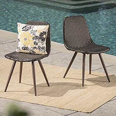 Gilda | Outdoor Wicker Dining Chairs with Dark Brown Legs | Set of 2 | In Multibrown - These wicker Dining chairs are a wonderful way to add both style and seating to your patio Made with top quality wicker and powder coated iron legs for longevity, these chairs will hold up for many seasons Manufactured in China - patio-furniture, patio-chairs, patio - 61obCX03OwL. SS400  -