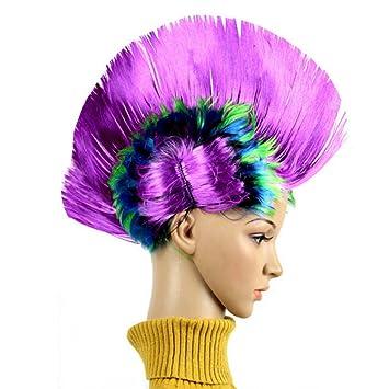 BIEE Peluca Carnaval Halloween Wave Punk roquero Cresta Mohawk 80s Colorido