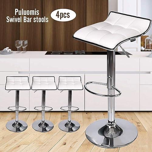 PULUOMIS Set of 4, Adjustable Swivel Gas Lift Barstools, PU Leather with Chrome Base, White