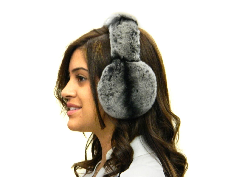 Rex Chinchilla Ear Muffs w/Fur on Band by FursNewYork