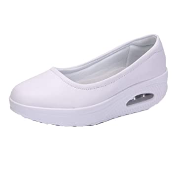 6f94b2670be12 Zomine Women's Nurse Shoes Thick Bottom Leather Air Cushioned Mom Sneakers  White 10 M US