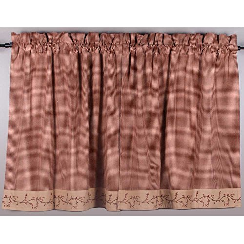 - Primitive Home Decors Berry Vine Gingham 36 Inch Curtain Tiers - Barn Red