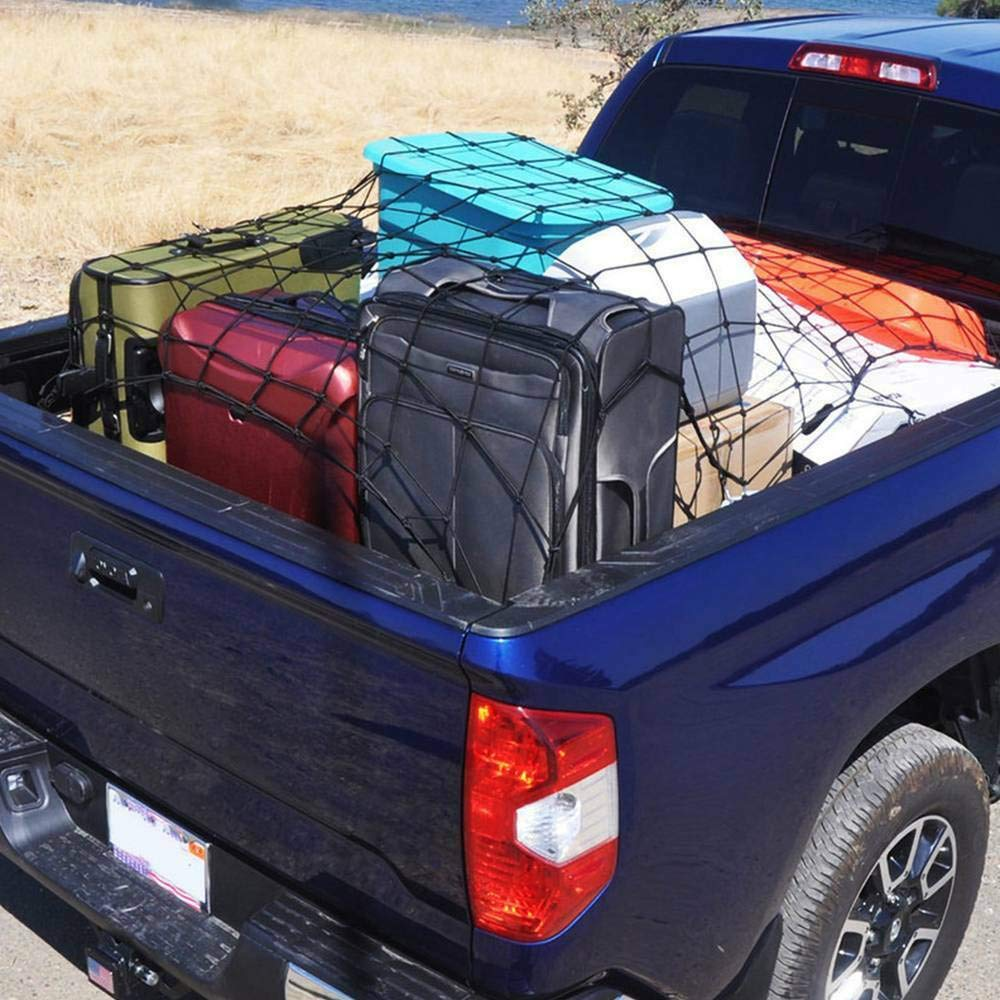 5x7 Cargo Net Heavy Duty Truck Bed Nets Stretches to 10x14 Suv Cargo Net For Rooftop Cargo Carrier with 16pcs D Clip Carabiners for Pickup Truck SUV Trailer Boat RV SUPAREE Bungee Cargo Net