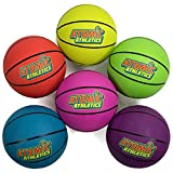 Atomic Athletics 6 Pack of Neon Rubber Playground Basketballs - Youth Size 5, 8.5' Balls with Air Pump and Mesh Storage Bag by K-Roo Sports